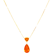14kt Gold 12.5CT Natural Mexican Fire Opal Handmade Necklace