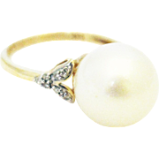 12.5mm Cultured White South Sea Pearl Diamond Ring 14KT Gold