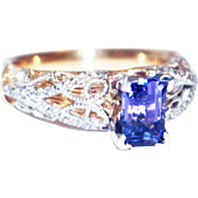 Unique Elegant Natural Tanzanite Diamond 3-D 2 Layers Cocktail Ring in 14KT Yellow Gold