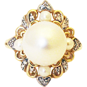 11.5mm Most Gorgeous Cultured White South Sea Pearl Diamond Ring 14KT Gold