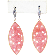 18 CT Handmade Rare Natural Hand Carved Flower Pink Opal and Diamonds in 14KT Gold earrings
