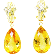 35CT Natural Citrine with Diamonds Earrings 14KT Gold