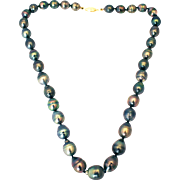 12mm Baroque Cultured  Tahitian Pearls Necklace 14kt Gold