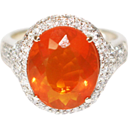 6CT Natural Mexican Fire Opal and Diamond Ring in 14KT Yellow Gold