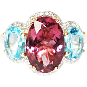 Priceless Natural Rubellite Tourmaline, Blue Topaz and Diamond Ring 14KT Gold