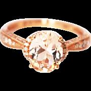 Natural Morganite & Diamonds Ring 14KT Rose Gold