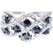 1.5 CT Natural Black and White Diamond Stackable Cocktail Band Ring in 14KT White Gold