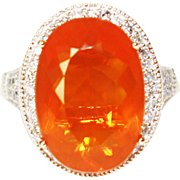 9.5CT Natural Mexican Fire Opal and Diamond Ring in 14KT Yellow Gold