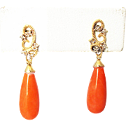 Natural Italian Red Coral and Diamonds Earrings 14KT Gold