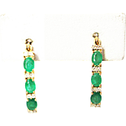 Natural Colombian Emeralds and Diamonds Hoop Earrings 14KT Yellow Gold