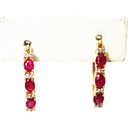 Natural Ruby and Diamonds Hoop Earrings 14KT Yellow Gold