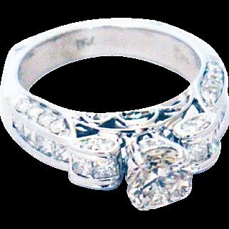 2.5CT Unique Elegant Natural Round Cut Diamond Engagement Ring in 18KT White Gold