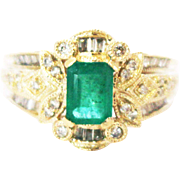 1.2 CT Natural Colombian Emerald and Diamond 14KT Yellow Gold Ring
