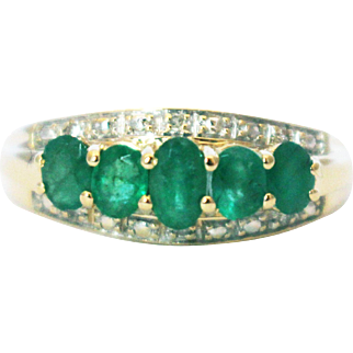 2 CT Natural Colombian Emerald and Diamond 14KT Yellow Stackable Gold Band Ring