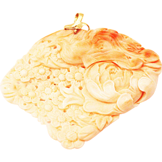 Natural Angel Skin Coral Hand carved Phoenix and Flower 14KT Yellow Gold Pendant