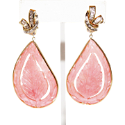 40 CT Handmade Rare Natural Hand Carved Leave Pink Opal and Diamonds in 14KT Gold earrings