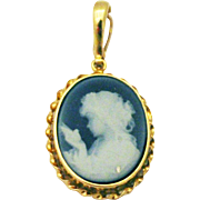 Natural Hand carved Blue Agate Cameo Pendant 14KT Yellow Gold