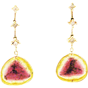 13CT Natural Rosecut Watermelon Tourmaline Slice with Diamonds Earrings 14KT Gold