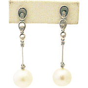 Cultured South Sea Pearls and Diamonds Earrings 14KT White Gold