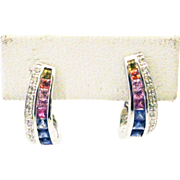 Multi Color Sapphire & Diamond  Earrings 14KT White Gold Earrings