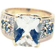 Natural Aquamarine and Diamond Ring in 14KT Yellow Gold