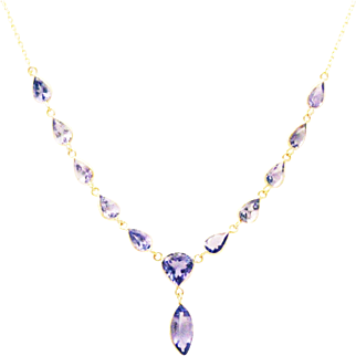Natural Tanzanite Necklace in 14KT Yellow Gold