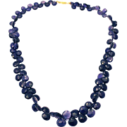 150CT 10.5mm Natural Color Faceted Iolite Necklace 18KT Gold