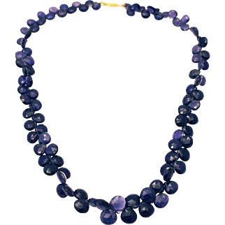 150CT 10.5mm Natural Color Faceted Iolite Necklace 18KT Gold