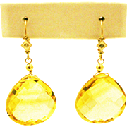 41CT Natural Citrine with Diamonds Earrings 14KT Gold