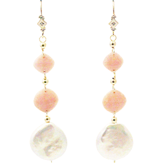 Natural Pink Opal and Coin Pearls with Diamonds Earrings 14KT Gold