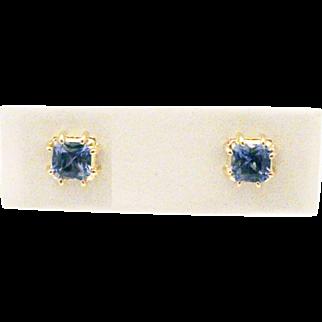 Natural Asscher Cut Tanzanite Stud Earrings 14KT Yellow Gold