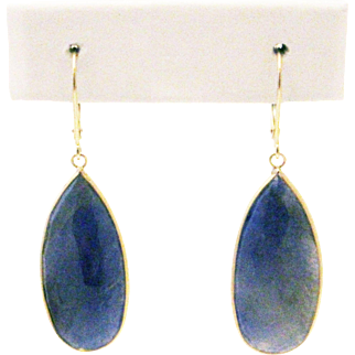 Natural Blue Sapphire Rose cut Slice Earrings 14KT Yellow Gold