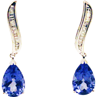 6.5CT Natural Tanzanite and Diamonds Earrings in 14KT White Gold