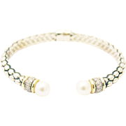 1/2 CT Diamond and Pearl 14KT Gold Silver Bracelet Bangle