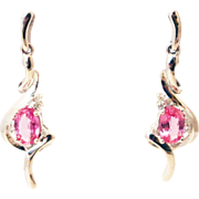 Pink Sapphire and Diamond Earrings 14KT White Gold Earrings