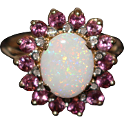 3 CT Amazing Natural Pink Tourmaline, 2.5 CT Australian Opal and Diamond Ring in 14KT Yellow Gold