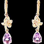 Amethyst and Diamond Earrings 14KT Rose Gold Earrings