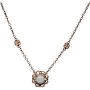 1CT Natural Australian Opal and Diamond Necklace in 14KT Rose Gold