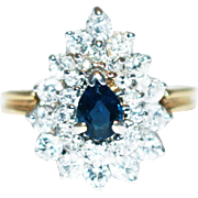 Most Gorgeous Natural Blue Sapphire Diamond Ring 14KT Yellow Gold