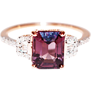 Rose Pink Tourmaline and Diamond Ring in 14KT Rose Gold