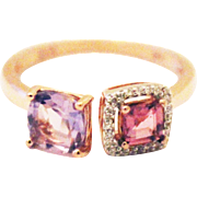 Unique Rose Bubble Gum Pink Tourmaline, Rose de France and Diamond Ring in 14KT Rose Gold
