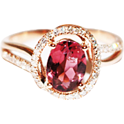 Pink Tourmaline and Diamond Ring in 14KT Rose Gold