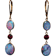 Natural Australian Opal and Rubellite Pink Tourmaline Line Earrings in 18KT Yellow Gold