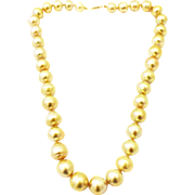 Stunning Rich Color 14.5mm Cultured Golden South Sea Pearls Necklace 14KT Gold