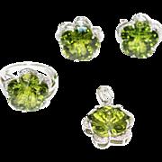 Custom Cut Flower Green Quartz Diamond Ring, Pendant & Earrings Set in 14KT White Gold