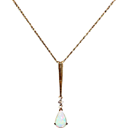 2.5CT Natural Australian Opal and Diamond Necklace in 14KT Yellow Gold