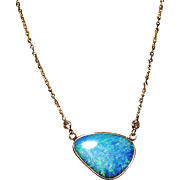 Handmade Natural Australian Opal and Diamond Necklace in 14KT Yellow Gold