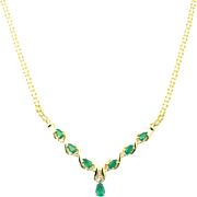 2 CT Natural Colombian Emerald and Diamond Necklace 14KT Yellow Gold