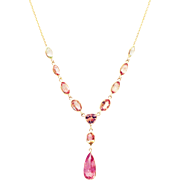 Bubble Gum Pink Tourmaline Ombre to Mint Tourmaline Necklace in 18KT Yellow Gold