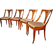 Mid Century Kindel Belvedere Cherry Empire Dining Chairs - Set of 4